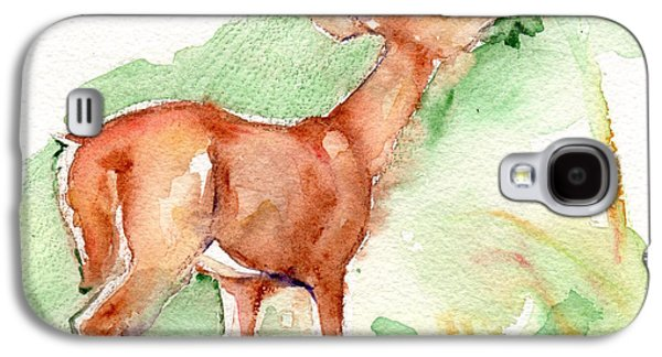 Deer Painting In Watercolor Galaxy S4 Case by Maria's Watercolor