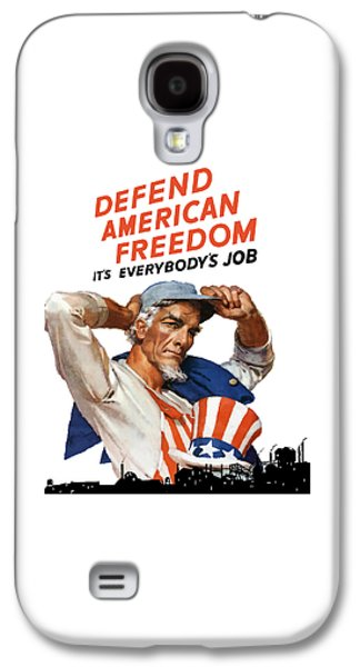 American Flag Mixed Media Galaxy S4 Cases - Defend American Freedom Its Everybodys Job Galaxy S4 Case by War Is Hell Store