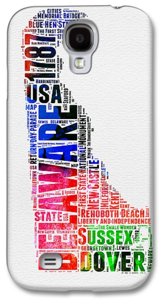 4th July Mixed Media Galaxy S4 Cases - Delaware Watercolor Word Cloud  Galaxy S4 Case by Naxart Studio
