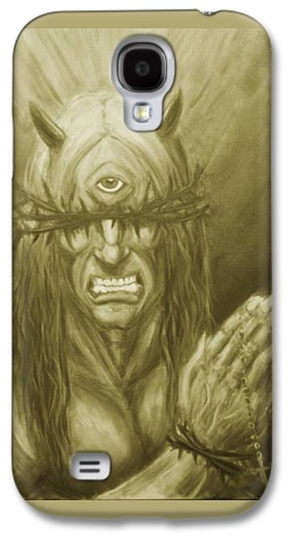 Religious Drawings Galaxy S4 Cases - Demon Christ  Galaxy S4 Case by Alaric Barca