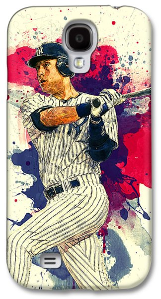 Baseball Glove Paintings Galaxy S4 Cases - Derek Jeter Galaxy S4 Case by Taylan Soyturk