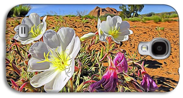 Blue Abstracts Galaxy S4 Cases - Desert Primrose 4 Galaxy S4 Case by William Horden