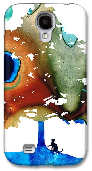 Affirmation Galaxy S4 Cases - Determination - Colorful Cat Art Painting Galaxy S4 Case by Sharon Cummings