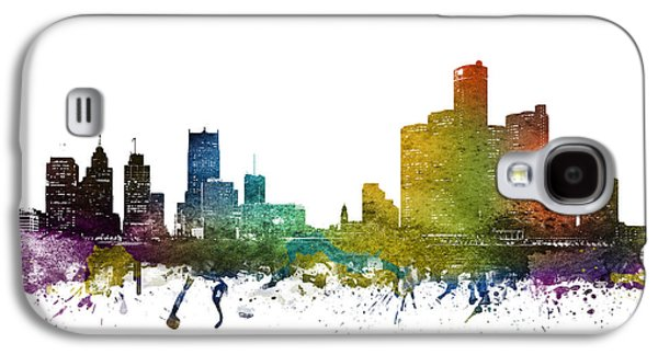 Skylines Drawings Galaxy S4 Cases - Detroit cityscape 01 Galaxy S4 Case by Aged Pixel