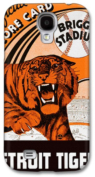 Baseball Stadiums Paintings Galaxy S4 Cases - Detroit Tigers Briggs Stadium Vintage Scorecard Galaxy S4 Case by Big 88 Artworks