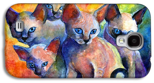 Animals Drawings Galaxy S4 Cases - Devon Rex kittens Galaxy S4 Case by Svetlana Novikova