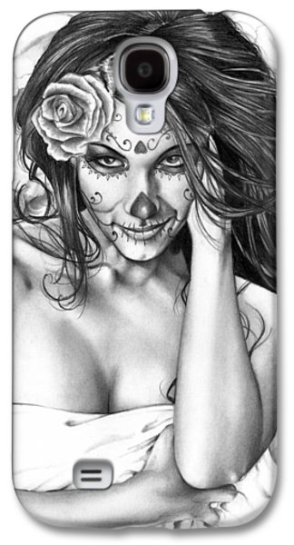 Black And White Galaxy S4 Cases - Dia De Los Muertos 2 Galaxy S4 Case by Pete Tapang