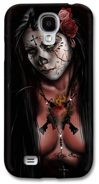 Black And White Galaxy S4 Cases - Dia De Los Muertos 3 Galaxy S4 Case by Pete Tapang