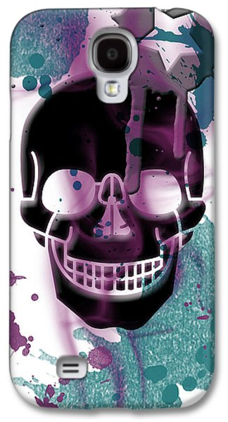 Abstract Movement Mixed Media Galaxy S4 Cases - Digital-Art Skull and Splashes Panoramic Galaxy S4 Case by Melanie Viola