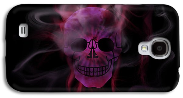 Abstract Movement Galaxy S4 Cases - Digital-Art Smoke and Pink Skull Panoramic Galaxy S4 Case by Melanie Viola