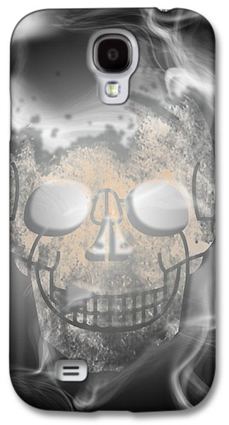 Abstract Digital Mixed Media Galaxy S4 Cases - Digital-Art Smoke and Skull Galaxy S4 Case by Melanie Viola