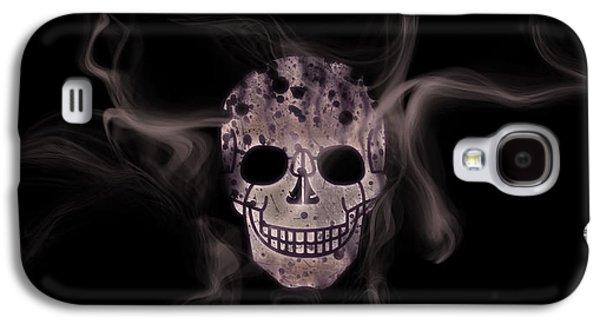 Abstract Movement Mixed Media Galaxy S4 Cases - Digital-Art Smoke and Skull Panoramic Galaxy S4 Case by Melanie Viola