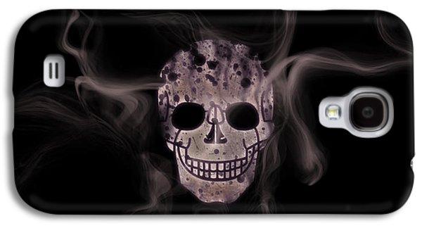 Abstract Digital Mixed Media Galaxy S4 Cases - Digital-Art Smoke and Skull Panoramic Galaxy S4 Case by Melanie Viola