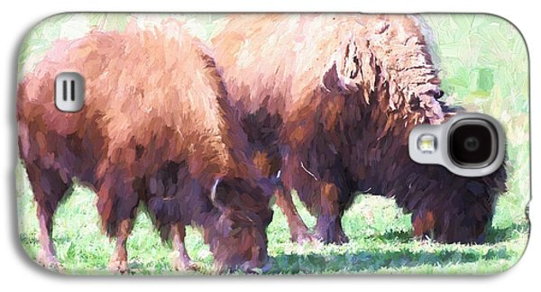 Bison Digital Galaxy S4 Cases - Digital Painting Two Bison Galaxy S4 Case by Linda Phelps