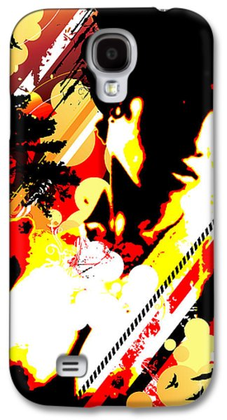 Abstract Digital Mixed Media Galaxy S4 Cases - Dim Sunrise Galaxy S4 Case by Chris Andruskiewicz
