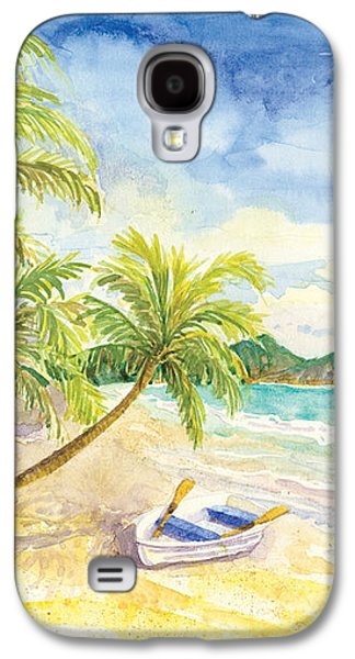 Green Galaxy S4 Cases - Dinghy on the Tropical Beach with Palm Trees Galaxy S4 Case by Audrey Jeanne Roberts