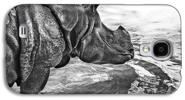 One Horned Rhino Galaxy S4 Cases - Dip in the Pool Galaxy S4 Case by Jamie Pham