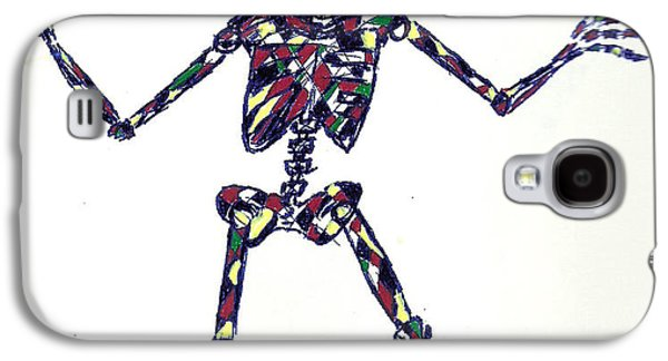 Abstract Digital Drawings Galaxy S4 Cases - Disco Skeleton Galaxy S4 Case by Ashley Teeter