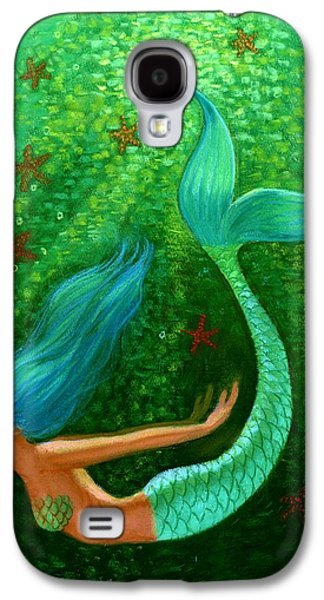 Green Galaxy S4 Cases - Diving Mermaid Fantasy Art Galaxy S4 Case by Sue Halstenberg