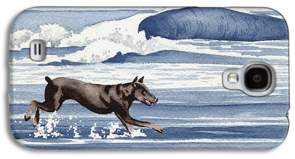Doberman At The Beach  Galaxy S4 Case by David Rogers