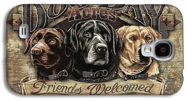 Dog Paintings Galaxy S4 Cases - Dog Day Acres Sign Galaxy S4 Case by JQ Licensing