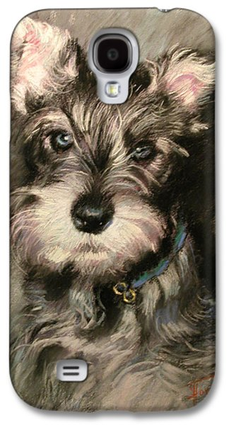 Dogs Pastels Galaxy S4 Cases - Dog in Blue Collar Galaxy S4 Case by Ylli Haruni