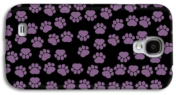 Puppy Digital Galaxy S4 Cases - Dog Paws in Purple Color on Black Background Galaxy S4 Case by Jelena Ciric