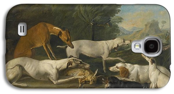 Dog In Landscape Galaxy S4 Cases - Dogs In A Landscape With Their Catch Galaxy S4 Case by Jacques-Charles Oudry