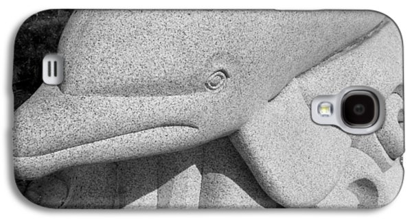 Grey Sculptures Galaxy S4 Cases - Dolphin Granite B W  Galaxy S4 Case by Rob Hans