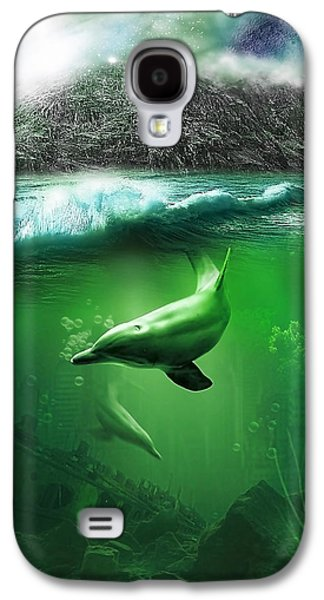 Abstract Digital Mixed Media Galaxy S4 Cases - Dolphins Galaxy S4 Case by Svetlana Sewell