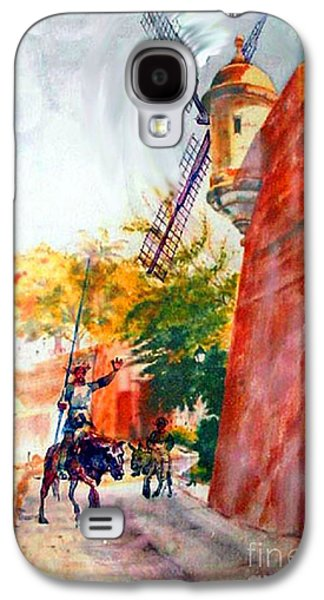 Town Paintings Galaxy S4 Cases - Don Quixote in San Juan Galaxy S4 Case by Estela Robles