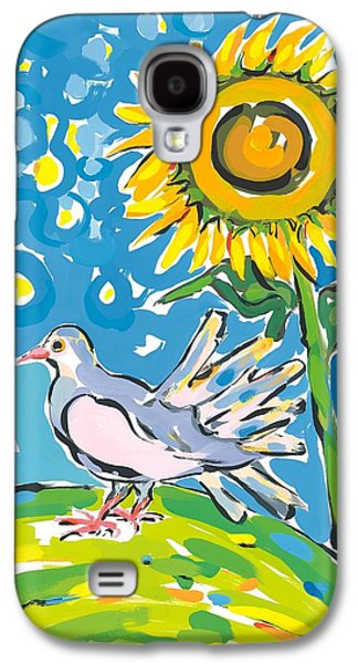 Globe Paintings Galaxy S4 Cases - Dove and sunflower Galaxy S4 Case by Sarah Gillard
