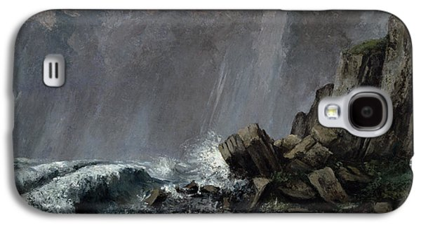 Thunder Paintings Galaxy S4 Cases - Downpour at Etretat  Galaxy S4 Case by Gustave Courbet