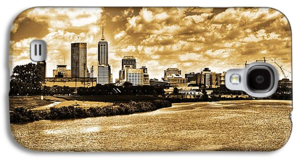Hdr Landscape Galaxy S4 Cases - Downtown Indianapolis Skyline Dark Toned Galaxy S4 Case by David Haskett