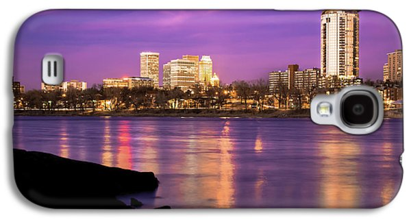 Downtown Tulsa Oklahoma - University Tower View - Purple Skies Galaxy S4 Case by Gregory Ballos
