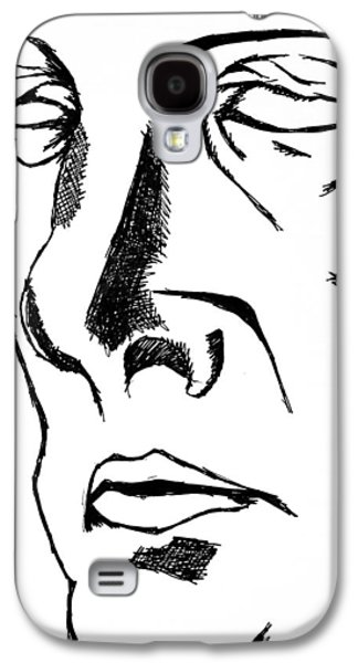 Character Portraits Drawings Galaxy S4 Cases - Dr Manhattan bw Galaxy S4 Case by Jera Sky