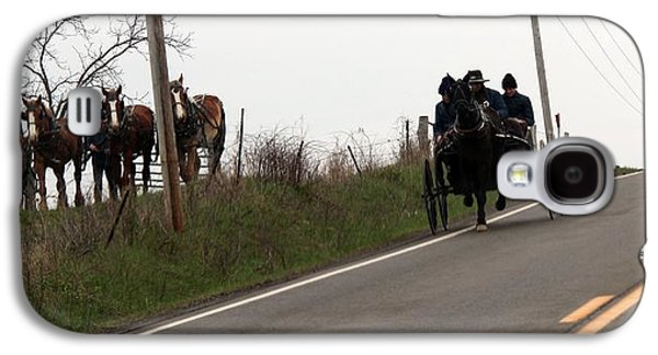Amish Community Photographs Galaxy S4 Cases - Draft Horses and Amish Galaxy S4 Case by R A W M