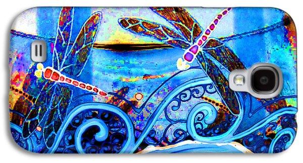 Original Glass Galaxy S4 Cases - Dragonfly Fantasy Water Blue Galaxy S4 Case by Deborah jordan Sackett
