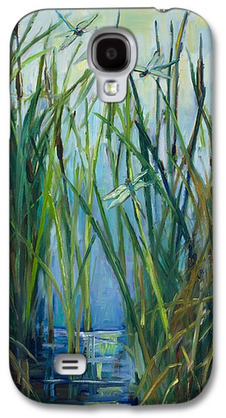 Fort Collins Paintings Galaxy S4 Cases - Dragonfly Fest plein air Galaxy S4 Case by Marie Massey