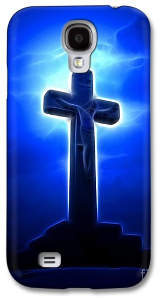 The Church Mixed Media Galaxy S4 Cases - Dramatic Jesus Crucifixion Galaxy S4 Case by Pamela Johnson
