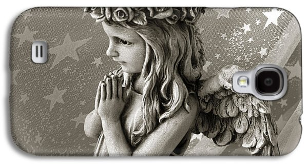 Praying Hands Galaxy S4 Cases - Dreamy Little Girl Angel With Praying Hands  Galaxy S4 Case by Kathy Fornal