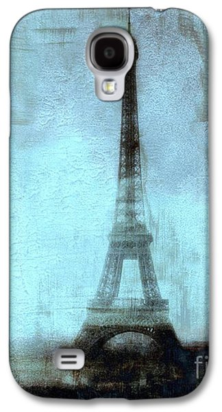 Abstract Digital Photographs Galaxy S4 Cases - Dreamy Paris Eiffel Tower Aqua Teal Sky Blue Abstract  Galaxy S4 Case by Kathy Fornal