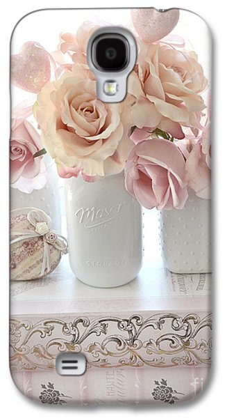 Dreamy Pastel Shabby Chic Peach And Pink White Roses - Cottage Shabby Chic Roses White Mason Jars  Galaxy S4 Case by Kathy Fornal