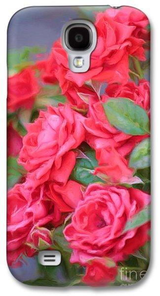Floral Digital Digital Galaxy S4 Cases - Dreamy Red Roses - Digital Art Galaxy S4 Case by Carol Groenen