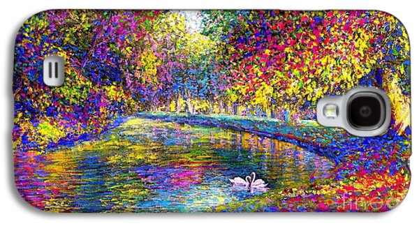 Drifting Beauties, Swans, Colorful Modern Impressionism Galaxy S4 Case by Jane Small
