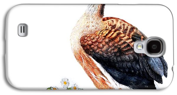 Feather Drawings Galaxy S4 Cases - Duck and Daisies Galaxy S4 Case by Sandra Moore