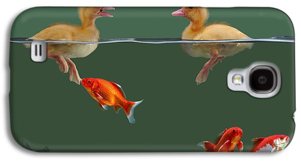 Domesticated Animals Galaxy S4 Cases - Ducklings And Goldfish Galaxy S4 Case by Jane Burton