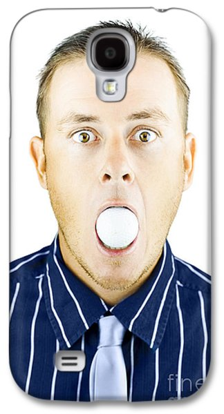 Censorship Galaxy S4 Cases - Dumbfounded man silenced by a golf ball Galaxy S4 Case by Ryan Jorgensen