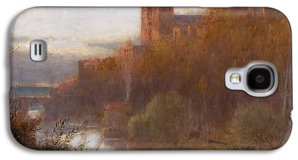 Landscapes Paintings Galaxy S4 Cases - Durham Cathedral Galaxy S4 Case by Albert Goodwin