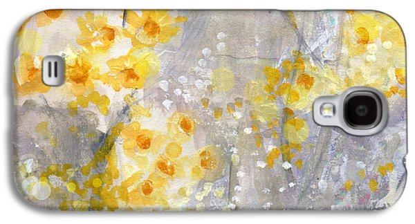 Floral Abstract Galaxy S4 Cases - Dusty Miller- Abstract Floral Painting Galaxy S4 Case by Linda Woods
